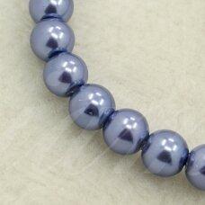 STPERL0014-04 apie 4 mm, apvali forma,  violetinė spalva, stikliniai perliukai, apie 180 vnt.