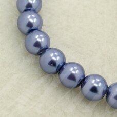 STPERL0014-08 apie 8 mm, apvali forma, violetinė spalva, stikliniai perliukai, apie 26 vnt.