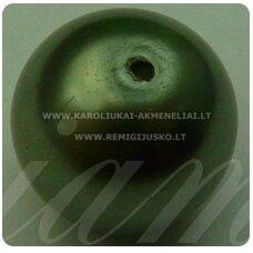 stperl0017-12 apie 12 mm, stiklinis perliukas, tamsi, samaninė spalva, 9 vnt.