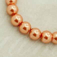 stperl0018-06 apie 6 mm, apvali forma, stiklinis perliukas, šviesi, oranžinis atspalvis, apie 52 vnt.