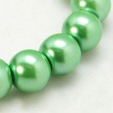 stperl0019-08 apie 8 mm, apvali forma, stiklinis perliukas, šviesi, žalia spalva, apie 28 vnt.