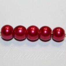 stperl0024-06 apie 6 mm, apvali forma, šviesi, bordo spalva, stiklinis perliukas, apie 54 vnt.