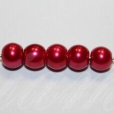 stperl0024-08 apie 8 mm, apvali forma, šviesi, bordo spalva, stiklinis perliukas, apie 28 vnt.