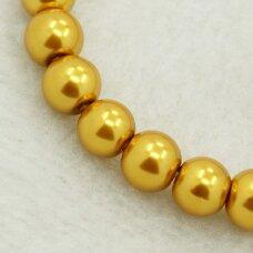 STPERL0040-03 apie 3 mm, apvali forma, stikliniai perliukai, ryškiai geltona spalva, apie 150 vnt.