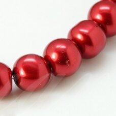 stperl0046-03 apie 3 mm, apvali forma, stiklinis perliukas, raudona spalva, apie 150 vnt.
