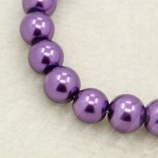 stperl0048-08 apie 8 mm, stiklinis perliukas, purpurinė spalva, apie 28 vnt.