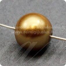 stperl0049-12 apie 12 mm, stiklinis perliukas, auksinis atspalvis, 9 vnt.