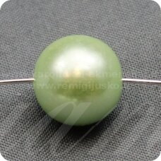 stperl0052-12 apie 12 mm, stiklinis perliukas, žalsva spalva, 9 vnt.
