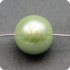 stperl0052-14 apie 14 mm, stiklinis perliukas, žalsva spalva, 6 vnt.