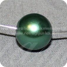 stperl0054-12 apie 12 mm, stiklinis perliukas, melsvai žalia spalva, 9 vnt.