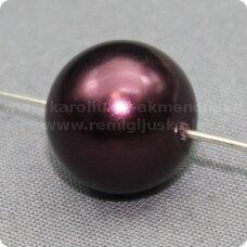 stperl0055-12 apie 12 mm, stiklinis perliukas, tamsi, bordo spalva, 9 vnt.