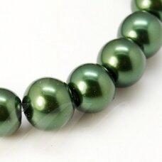 stperl0065-03 apie 3 mm, apvali forma, stiklinis perliukas, tamsi, žalia spalva, apie 150 vnt.