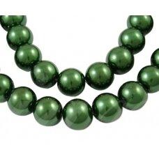 stperl0065-08 apie 8 mm, apvali forma, stiklinis perliukas, tamsi, žalia spalva, apie 28 vnt.