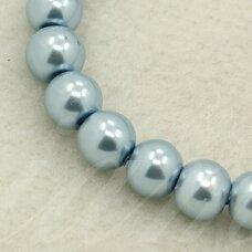 STPERL0066-03 apie 3 mm, apvali forma, stikliniai perliukai, melsva spalva, apie 150 vnt.