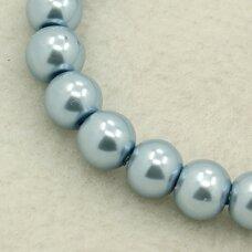 stperl0066-12 apie 12 mm, stiklinis perliukas, melsva spalva, 9 vnt.