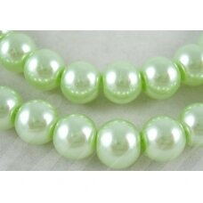 jsstperl0120-08 about 8 mm, glass pearl, light, green color, about 100 pcs.