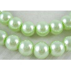 STPERL0120-08 apie 8 mm, stikliniai perliukai, šviesi, žalia spalva, apie 28 vnt.