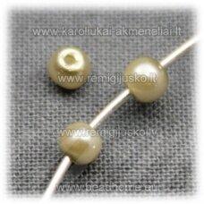 stperl0138-03 apie 3 mm, šviesi, samaninė spalva, stiklinis perliukas, apie 300 vnt.