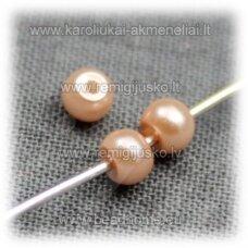 stperl0149-03 apie 3 mm, persikinė spalva, stiklinis perliukas, apie 300 vnt.