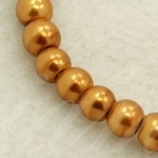STPERL0157-03 apie 3 mm, apvali forma, stiklinis perliukas, auksinė spalva, apie 150 vnt.