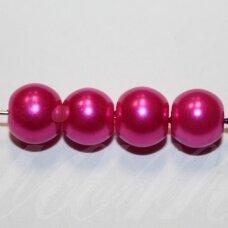 stperl0160-08 apie 8 mm, tamsi, rožinė spalva, stiklinis perliukas, apie 26 vnt.