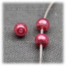 STPERL0162-03 apie 3 mm, apvali forma, tamsi, rožinė spalva, apie 300 vnt.