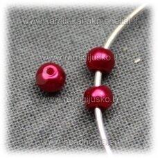 stperl0164-03 apie 3 mm, raudona spalva, stiklinis perliukas, apie 300 vnt.