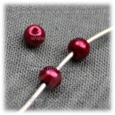 stperl0166-03 apie 3 mm, tamsi, raudona spalva, stiklinis perliukas, apie 300 vnt.