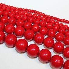 stperl0167-06 apie 6 mm, apvali forma, raudona spalva, stiklinis perliukas, apie 60 vnt.