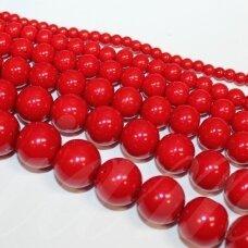 stperl0167-14 apie 14 mm, apvali forma, raudona spalva, stiklinis perliukas, 6 vnt.