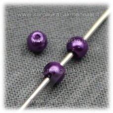 stperl0172-03 apie 3 mm, violetinė spalva, stiklinis perliukas, apie 300 vnt.