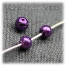 stperl0173-03 apie 3 mm, violetinė spalva, stiklinis perliukas, apie 300 vnt.
