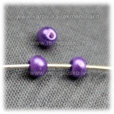stperl0174-03 apie 3 mm, violetinė spalva, stiklinis perliukas, apie 300 vnt.