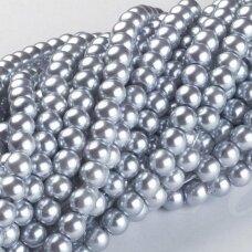 stperl0181-04 apie 4 mm, apvali forma, stiklinis perliukas, sidabrinė spalva, apie 130 vnt.