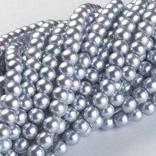 jsstperl0181-06 apie 6 mm, apvali forma, stiklinis perliukas, sidabrinė spalva, apie 130 vnt.