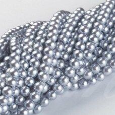 jsstperl0181-08 apie 8 mm, apvali forma, stiklinis perliukas, sidabrinė spalva, apie 100 vnt.
