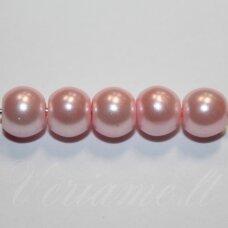 stperl0205-06 apie 6 mm, apvali forma, stiklinis perliukas, šviesi, rožinė spalva, apie 56 vnt.