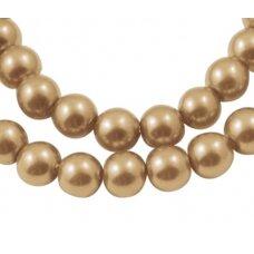 stperl0213-03 apie 3 mm, apvali forma, stiklinis perliukas, tamsi, auksinė spalva, apie 300 vnt.