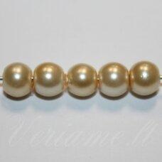 stperl0228-06 apie 6 mm, apvali forma, stiklinis perliukas, gelsva spalva, apie 54 vnt.