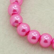 stperl0261-06 apie 6 mm, apvali forma, stiklinis perliukas, rožinė spalva, apie 70 vnt.