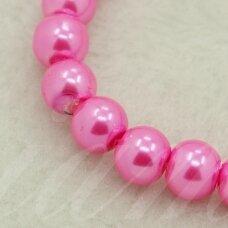 stperl0264-06 apie 6 mm, apvali forma, stiklinis perliukas, ryški, rožinė spalva, apie 56 vnt.