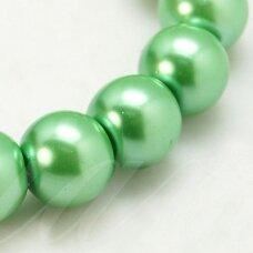 stperl0268-06 apie 6 mm, apvali forma, stiklinis perliukas, šviesi, žalia spalva, apie 68 vnt.