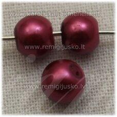 stperl0277-06 apie 6 mm, apvali forma, tamsi, rožinė spalva, stiklinis perliukas, apie 70 vnt.