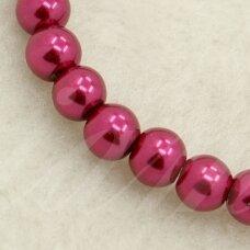 STPERL0296-04 - 4 mm, apvali forma, stikliniai perliukai, bordo spalva, apie 200 vnt.
