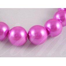 stperl0327-04 apie 4 mm, apvali forma, stiklinis perliukas, rožinė spalva, apie 180 vnt.