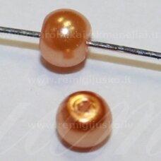 stperl0333-03 apie 3 mm, apvali forma, šviesi, ruda spalva, stiklinis perliukas, apie 300 vnt.