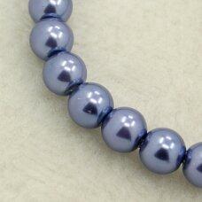 stperl0335-06 apie 6 mm, stiklinis perliukas, melsva spalva, apie 52 vnt.