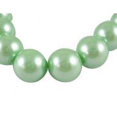 STPERL0338-08 apie 8 mm, stikliniai perliukai, šviesi, žalia spalva, apie 26 vnt.