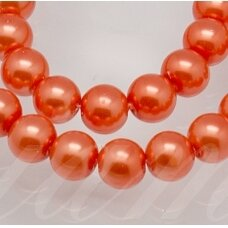 STPERL0339-08 apie 8 mm, apvali forma, stikliniai perliukai, oranžinė spalva, apie 26 vnt.