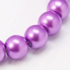 STPERL0349-03 apie 3 mm, apvali forma, stiklinis perliukas, šviesi, violetinė spalva, apie 150 vnt.